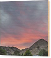 Sunset Over Farmland In Central Oregon Wood Print