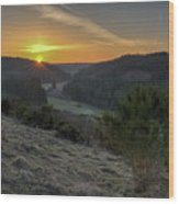 Sunset Over Forest Wood Print