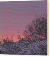 Sunset Over Fresh Snow Wood Print