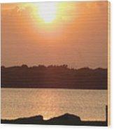 Sunset Over Galveston Bay Wood Print