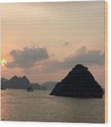 Sunset Over Halong Bay - Vietnam  Wood Print