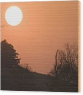 Sunset Over Hampshire Cornfield Wood Print