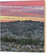 Sunset Over Happy Valley Residential Neighborhood Wood Print