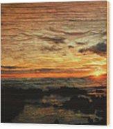 Sunset Over Hawaii Wood Print
