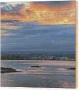 Sunset Over Hilo Wood Print