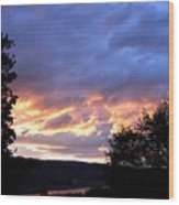 Sunset Over Kalamalka Wood Print