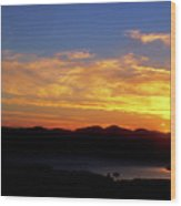 Sunset Over Lake Champlain From Mount Philo Wood Print