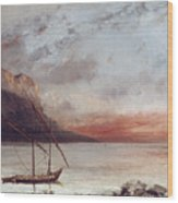 Sunset Over Lake Leman Wood Print by Gustave Courbet