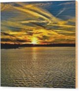 Sunset Over Lake Palestine Wood Print