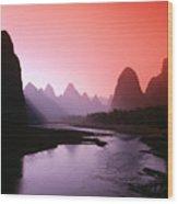 Sunset Over Li River Wood Print