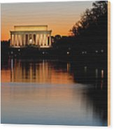 Sunset Over Lincoln Memorial Wood Print