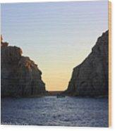 Sunset Over Lovers Beach Wood Print