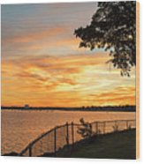 Sunset Over Lynch Park Beverly Ma Water Tower Wood Print