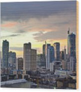 Sunset Over  Makati City, Manila Wood Print
