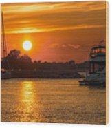 Sunset Over Marina Wood Print