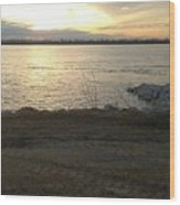 Sunset Over Mississippi River Wood Print