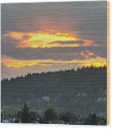 Sunset Over Mount Talbert In Happy Valley Wood Print