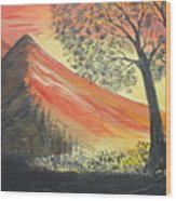 Sunset Over Mountains Wood Print