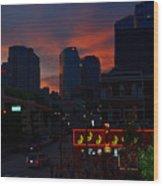 Sunset Over Nashville Wood Print