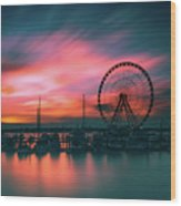 Sunset Over National Harbor Ferris Wheel Wood Print