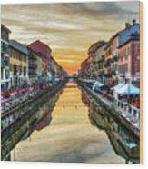 Sunset Over Naviglio Grande Wood Print