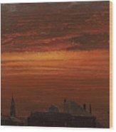 Sunset Over New York Wood Print