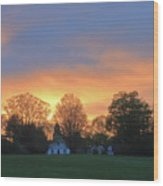 Sunset Over North Common Meadow Wood Print