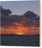 Sunset Over North Meadow Island Wood Print