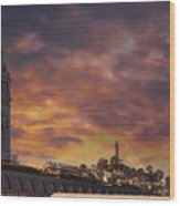 Sunset Over Port Of San Francisco Ferry Building Wood Print