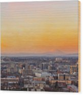 Sunset Over Portland Cityscape And Mt Saint Helens Wood Print