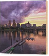 Sunset Over Portland Oregon Downtown Waterfront Wood Print