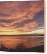 Sunset Over Portofino Wood Print