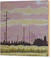 Sunset Over Powerlines Wood Print