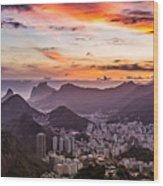 Sunset Over Rio De Janeiro  Wood Print