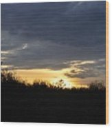 Sunset Over Rural Field Wood Print