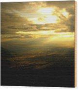Sunset Over Sandia Mountain Wood Print