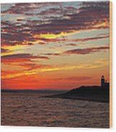 Sunset Over Sandy Neck Lighthouse Wood Print