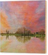 Sunset Over Sauvie Island Wood Print