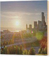 Sunset Over Seattle Downtown Skyline Wood Print