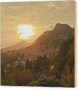 Sunset Over Sicily Wood Print
