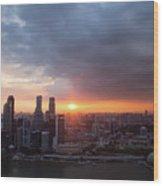Sunset Over Singapore Wood Print