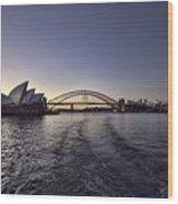 Sunset Over Sydney Harbor Bridge And Sydney Opera House Wood Print