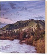 Sunset Over The American River Wood Print