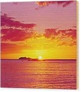 Sunset Over The, Atlantic Ocean, Cat Wood Print