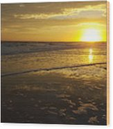 Sunset Over The Beach Wood Print