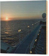 Sunset Over The Caribbean Sea As Seen Wood Print