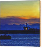 Sunset Over The Carl Vinson Wood Print