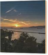Sunset Over The Columbia River Wood Print