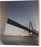 Sunset Over The Cooper River Bridge Charleston Sc Wood Print