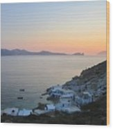 Sunset Over The Fishing Cove Of Klima On The Cycladic Island Of Milos Wood Print